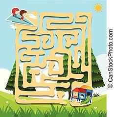 迷路, ゲーム, 子供, 公園, テンプレート