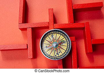 迷路, 上げられる, 木製である, 角度, 高く, 赤, 迷路, 光景, コンパス