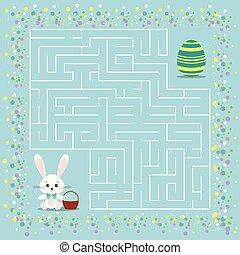 迷路, 子供, イースター, ゲーム, labyrinth.
