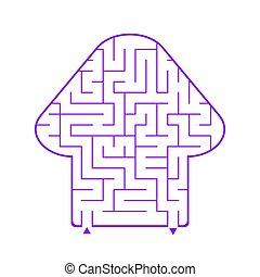 迷路, 平ら, illustration., バックグラウンド。, 単純である, 興味を起こさせること, 抽象的, fungus., 隔離された, 紫色, 形, ベクトル, ゲーム, children., 白い花