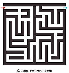 迷路, puzzle., バックグラウンド。, ベクトル, 迷路, 白