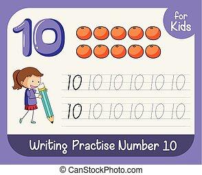 追跡, 数, 10, worksheets