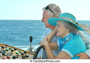 退休的 夫婦, 騎, 在, 小船, 上, 海