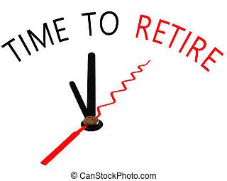 退休, 時間, 概念, 鐘