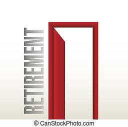 退休, 門打開, 插圖, 設計
