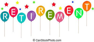 退休, balloon, -, 背景, 黨, 白色, 旗幟, 愉快