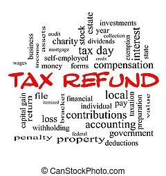 退款, 概念, 詞, 稅, 帽子, 雲, 紅色