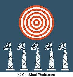 送信機, ターゲット, concept., ラジオタワー, 波, icon.