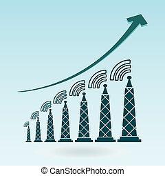 送信機, チャート, 成長, ラジオタワー, 波, icon.