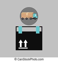 送貨卡車, 概念, 貨物, 包裹