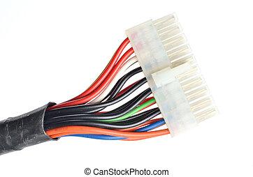 送電線, 供給, 隔離された, コネクター, コンピュータ, 背景, 白, atx