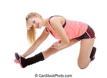 适合, 婦女伸展, 她, 腿, 到, 變暖向上