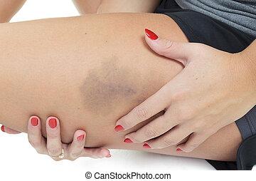 适合, 婦女伸展, 她, 腿, 到, 變暖向上, -, 被隔离, 在上方, 白色 ba