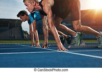 适合, 運動員, 跑, 比賽, 在, 体育運動, 跑道, 上, a, 陽光充足的日