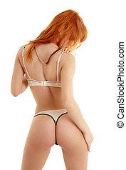 适合, redhead, 在, 黑色 和 白色, 女內衣, 從, 背