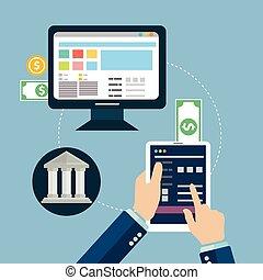 逃走, ベクトル, オンラインで, デザイン, 概念, methods., 資金, 電子, ワイヤー, モビール, 支払い, 移動, アイコン, 平ら, イラスト, transfer., 支払, 銀行