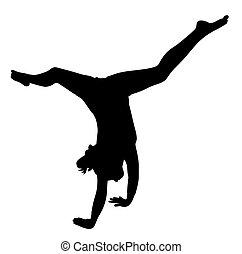 逆立ち, 女の子, 作成, 体操選手