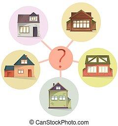 选择, 房子, 比较, 财产, 为了购买, 或者, 租金, 矢量, 概念