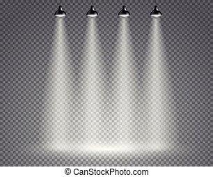 透明, スポットライト, 背景, 現場
