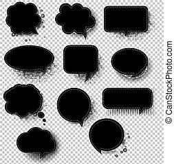 透明, 泡, スピーチ, レトロ, 背景, 黒
