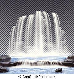透明, 背景, 現実的, 滝