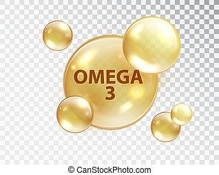 透明, illustration., 3, design., オメガ, capsule., ベクトル, ビタミン, 泡...