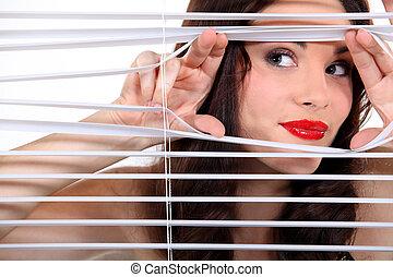 透過, 婦女, 凝視, 一些, 窗帘