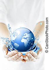這個球体, 在, hands., 概念, 為, 環境, conservation.