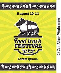 通りの食糧, ポスター, 祝祭, ベクトル, デザイン