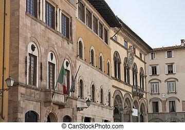 通り, ∥で∥, 歴史的な建物, 中に, lucca, イタリア