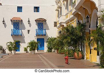 通り, の, cartagena, コロンビア