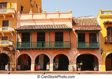 通り, の, cartagena, de, indias, コロンビア