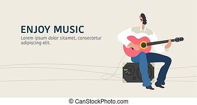通り, イラスト, ギター, ベクトル, 遊び, 人