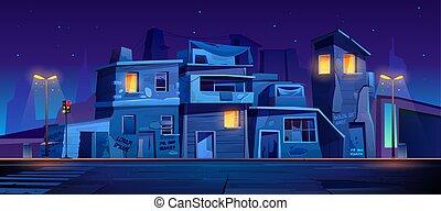 通り, スラム, ゲットー, 夜, 家, 捨てられた