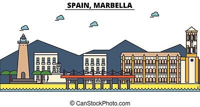 通り, セット, パノラマ, 建物, 建築, strokes., landmarks., シルエット, デザイン, ...