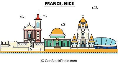 通り, セット, パノラマ, 建物, 建築, strokes., landmarks., シルエット, フランス, ...