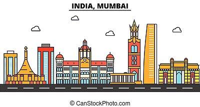 通り, セット, パノラマ, 建物, mumbai., strokes., landmarks., シルエット, ...