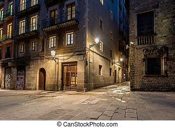 通り, バルセロナ, gotic, barri, 夜, 空