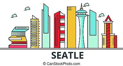 通り, パノラマ, 建物, 建築, strokes., landmarks., シルエット, デザイン, シアトル, 都市, 風景, アイコン, concept., 隔離された, skyline., 白, 平ら, editable, イラスト, 背景, 線, ベクトル
