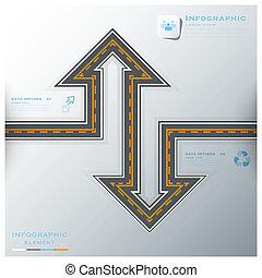 通り, ビジネス, &, 印, infographic, 交通, テンプレート, デザイン, 道