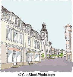 通り, ベクトル, 古い, illustration., town.