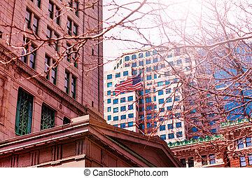 通り, ボストン, 旗, アメリカ人, 中央である, 建物