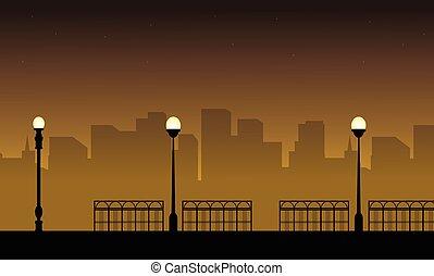 通り ランプ, イラスト, シルエット, ベクトル, 風景