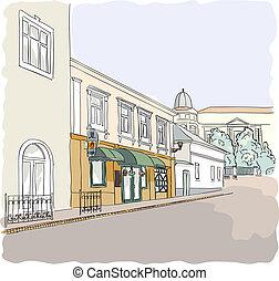 通り, 中に, ∥, 古い, town.