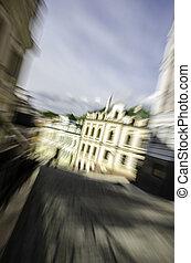 通り, 中に, ∥, 歴史的, 中心, の, kyiv., blur.
