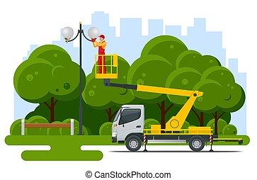 通り, 修理, 自動車, 黄色, scissor, 動力を与えられる, lift., 助け, 労働者, 変化しなさい, pole., タワー, エンジン