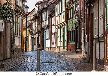 通り, 古い, 中心, wernigerode