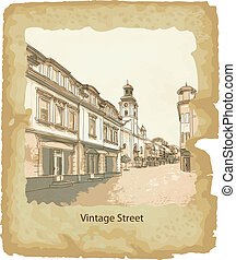 通り, 古い, town.