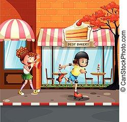 通り, 女の子, rollerskates, 遊び