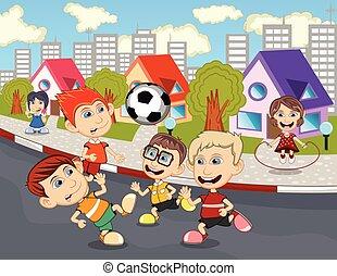 通り, 子供たちが遊ぶ